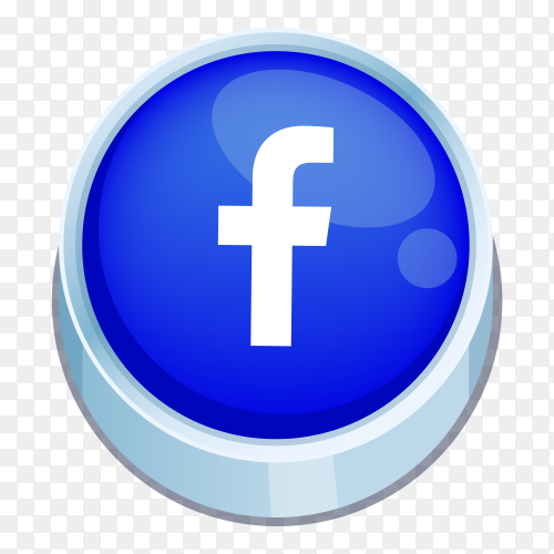 Facebook logo 3D button on transparent PNG