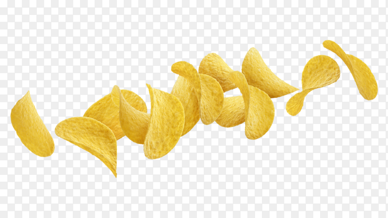 Falling potato chips isolated on transparent background PNG