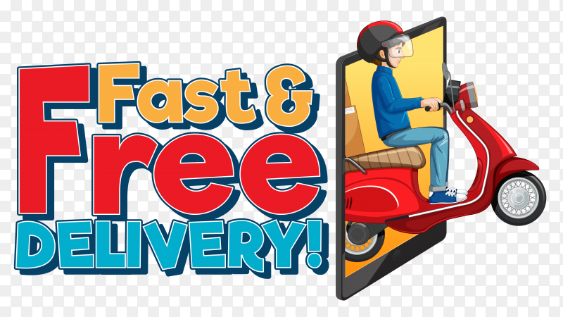 Fast free delivery logo with bike man on transparent background PNG