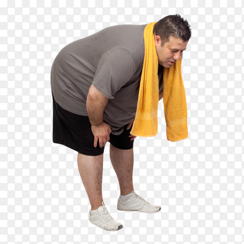 Fat man playing sport isolated on transparent background PNG