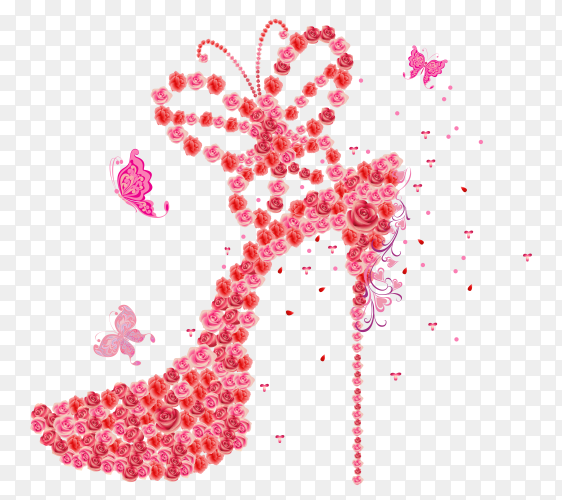 Female heels shoes made of flowers on transparent background PNG
