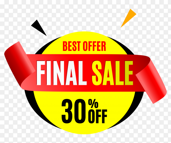 Final sale banner with red ribbon on transparent background PNG