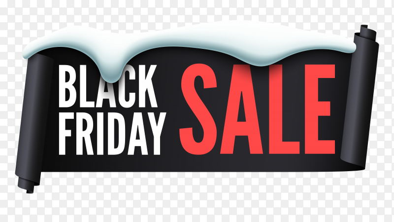 Flat design black friday sale on transparent background PNG
