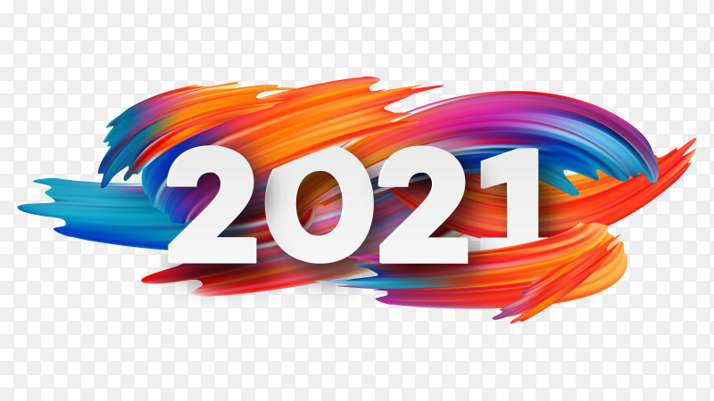 Flat design new year 2021 on transparent background PNG