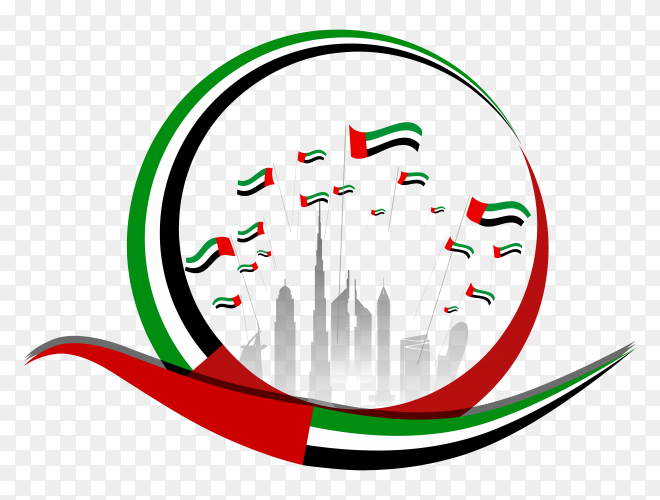 Flat design united arab emirates national day on transparent background PNG
