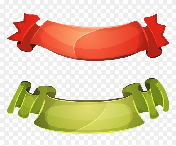 Funny colored ribbons banners on transparent background PNG
