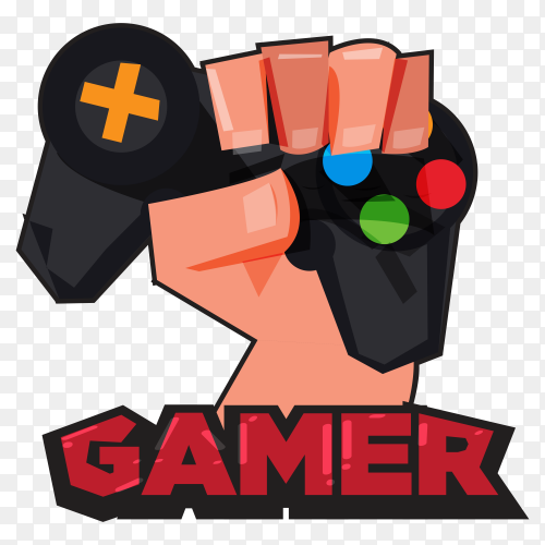 Gamer hand with gamepad on transparent background PNG