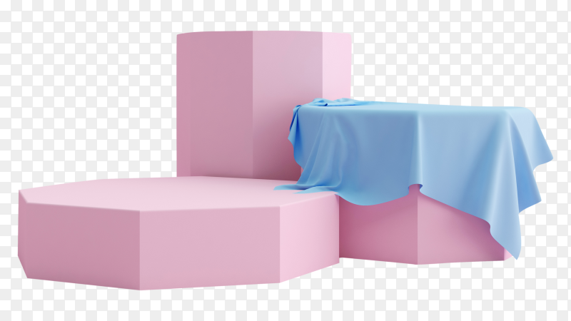 Geometric pink podium product presentation on transparent background PNG