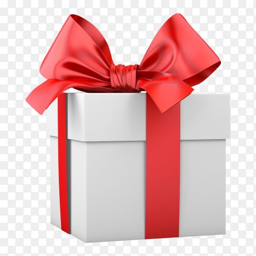 Gift box with red bow on transparent background PNG