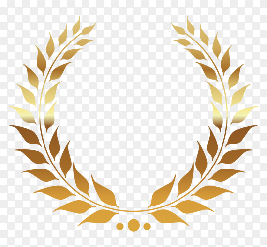 Gold Laurel Wreath on transparent background PNG