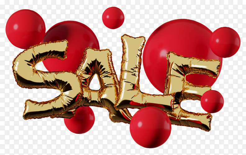 Gold foil balloon sale letter with red sphere red on transparent background PNG