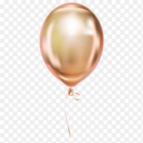 Gold helium balloon Floating on transparent background PNG