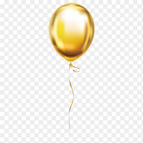 Gold helium balloon on transparent background PNG