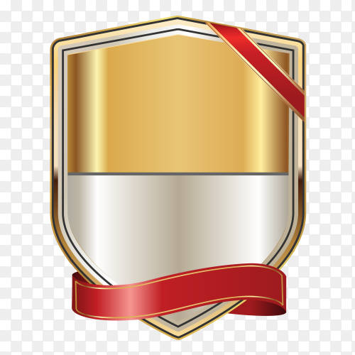 Golden Label With Red Ribbon on transparent background PNG