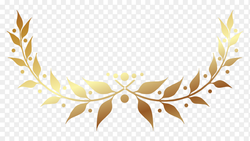 Golden Laurel wreath illustration on transparent background PNG