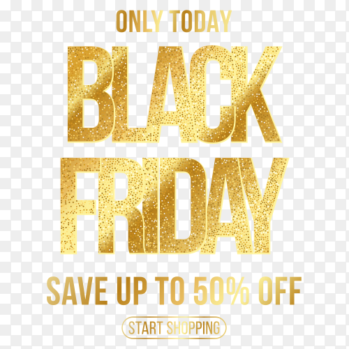 Golden black friday sale banner on transparent background PNG