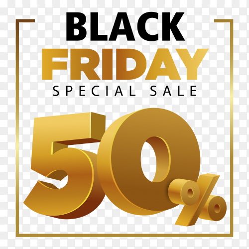 Golden black friday sale template on transparent background PNG