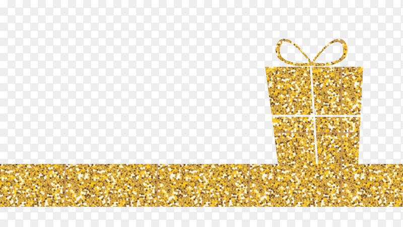 Golden box gift design on transparent background PNG