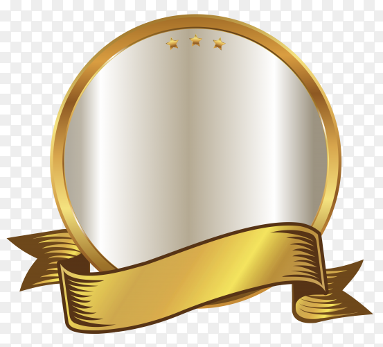 Golden empty badge label element design on transparent background PNG