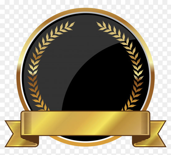Golden empty badge label element on transparent background PNG