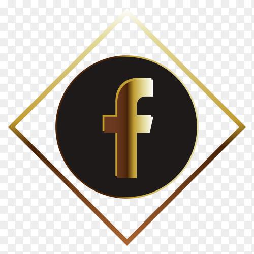 Golden facebook logo on transparent background PNG