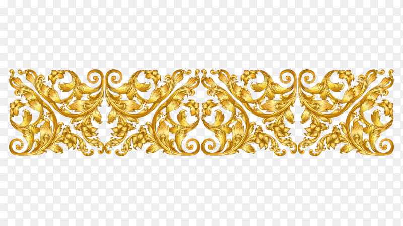 Golden floral descoration on transparent background PNG