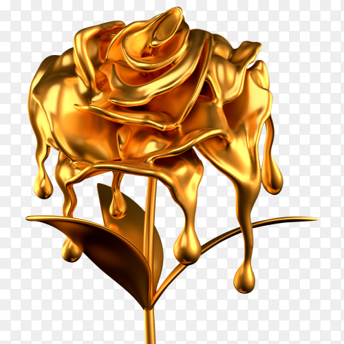 Golden flower illustration on transparent background PNG