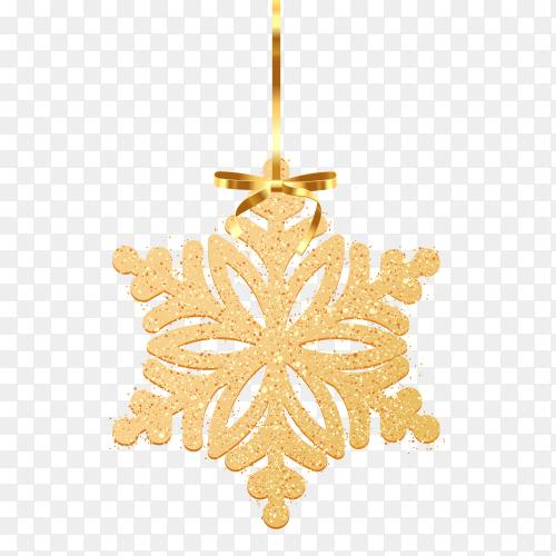 Golden glitter snowflake on transparent background PNG