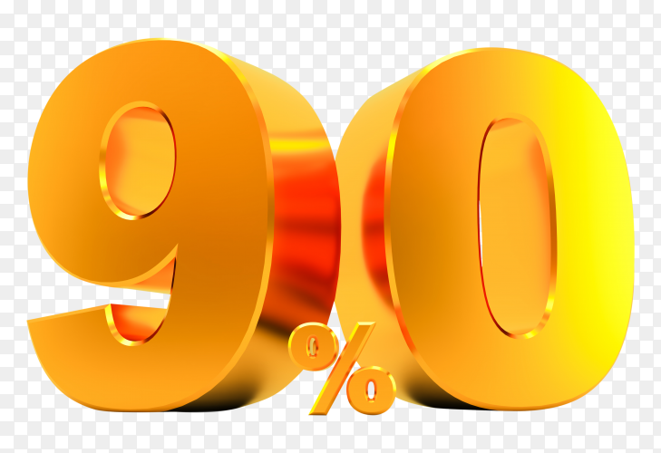 Golden ninety percent on transparent background PNG