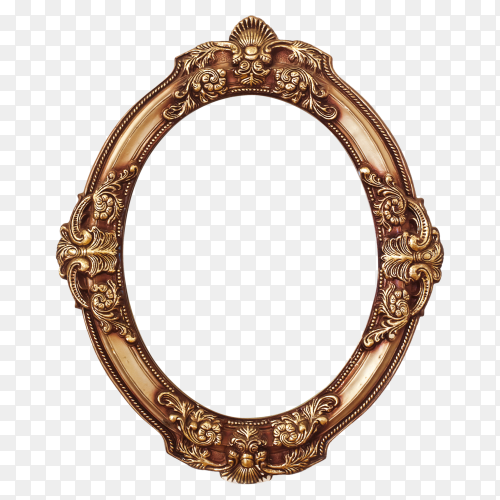 Golden round frame on transparent background PNG