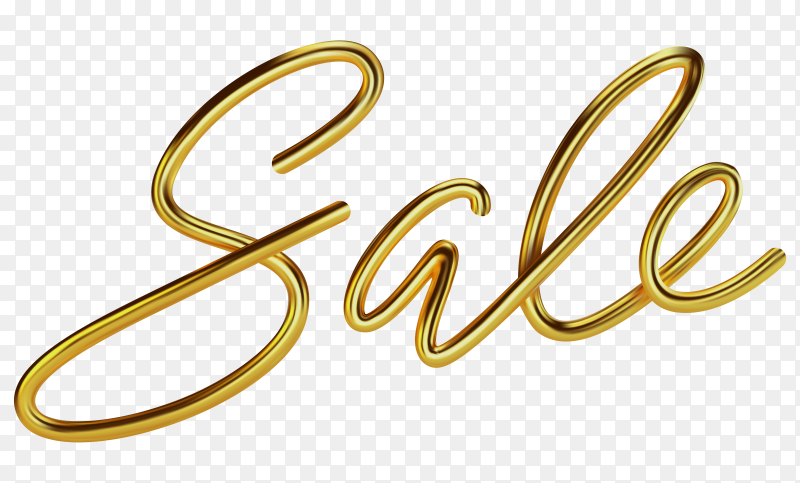 Golden sale lettering design on transparent background PNG