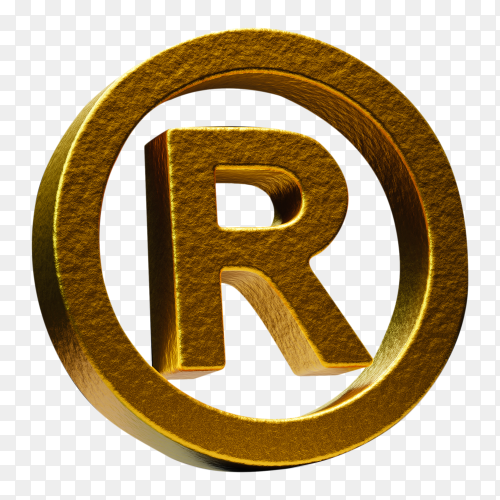 Golden trademark symbol with spotlighted on transparent background PNG