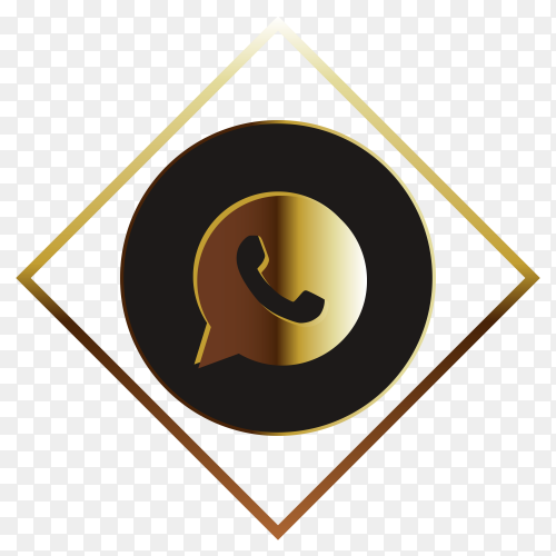 Golden whatsapp logo on transparent background PNG