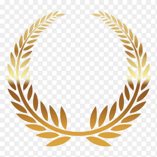 Golden wreath illustration on transparent background PNG