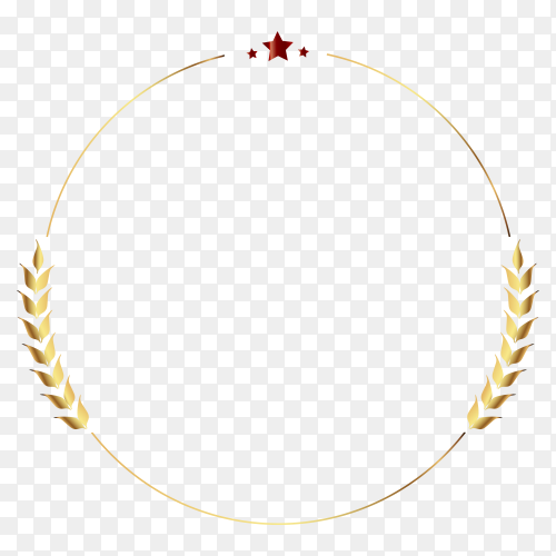 Golden wreath isolated on transparent background PNG