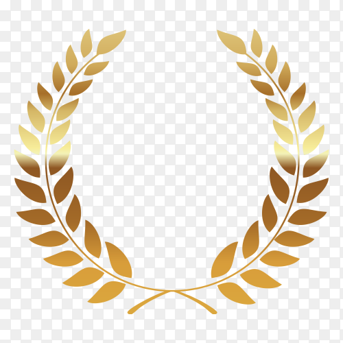 Golden wreath on transparent background PNG