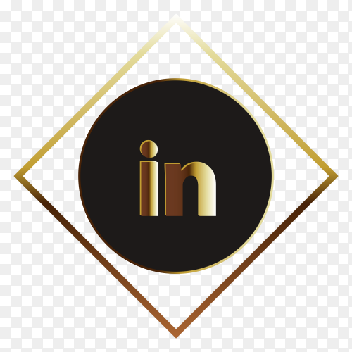 Goledn linkedin logo design on transparent background PNG