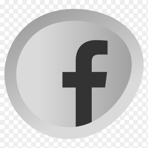 Gray facebook icon on transparent background PNG