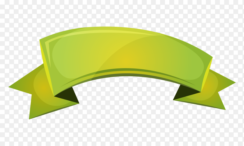 Green Riboon banner on transparent background PNG