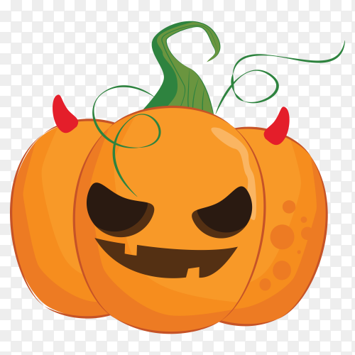 Grinning evil halloween pumpkin cartoon on transparent background PNG