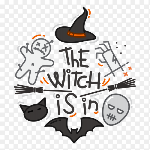 Halloween flat design color on transparent background PNG