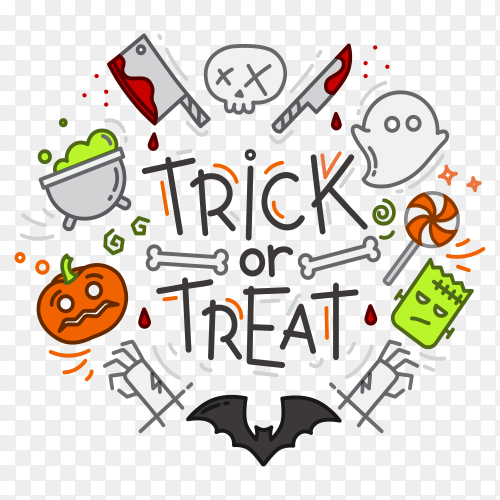 Halloween flat design on transparent background PNG