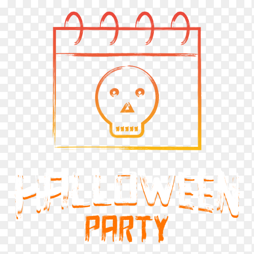 Halloween party lettering on transparent background PNG