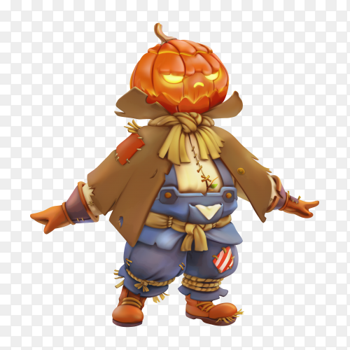 Halloween pumpkin cartoon character on transparent background PNG