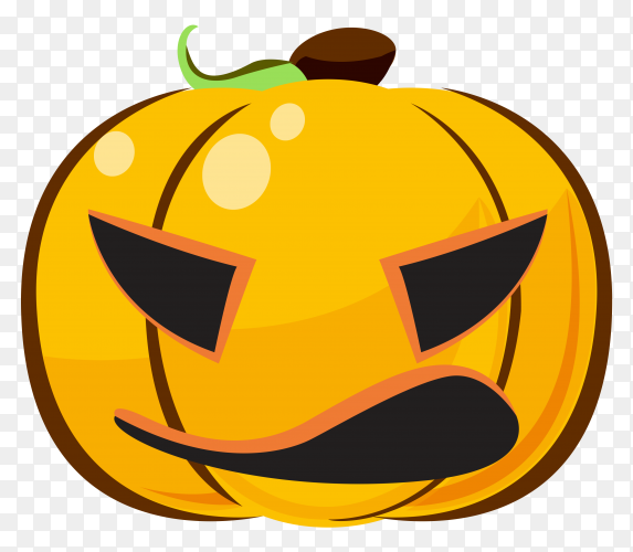 Halloween pumpkin emoji character on transparent background PNG