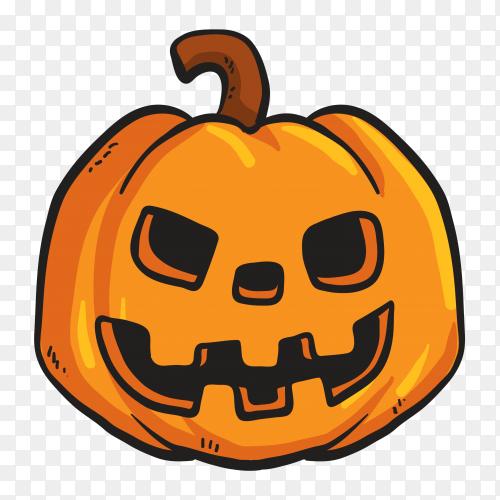 Halloween pumpkin head sticker on transparent background PNG