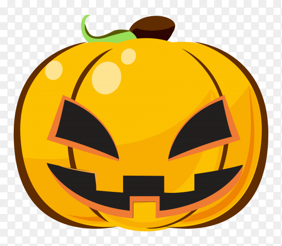 Halloween pumpkin with angry emoji face on transparent background PNG