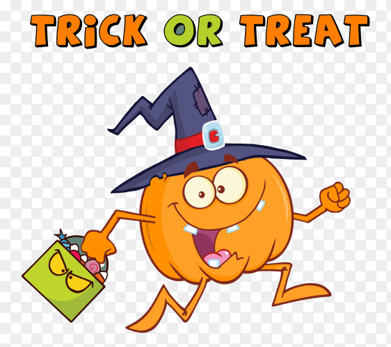 Halloween pumpkin with witch hat on transparent PNG