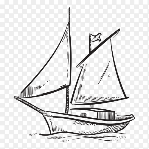 Hand drawn Ship on transparent background PNG