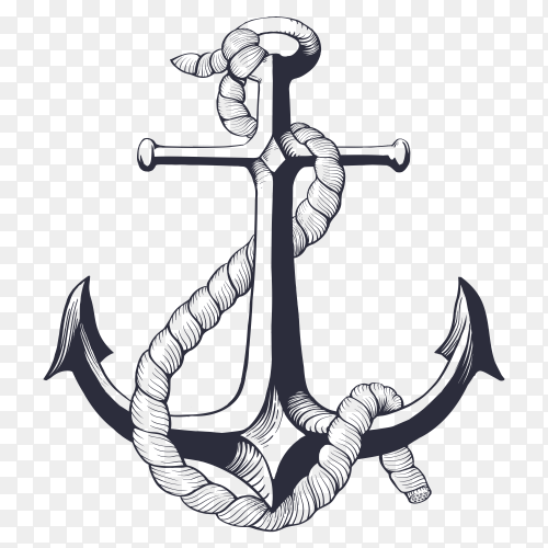 Hand drawn anchor with rope on transparent background PNG